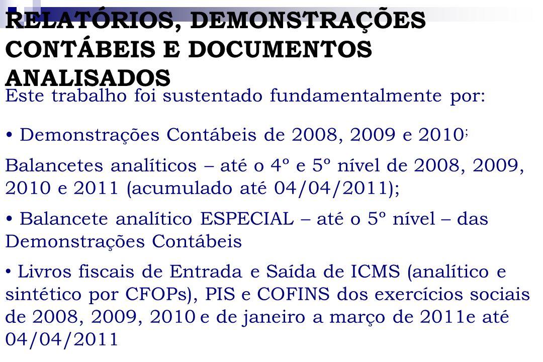 RELATÓRIOS, DEMONSTRAÇÕES CONTÁBEIS E DOCUMENTOS ANALISADOS Este trabalho foi sustentado fundamentalmente por: Demonstrações Contábeis de 2008, 2009 e