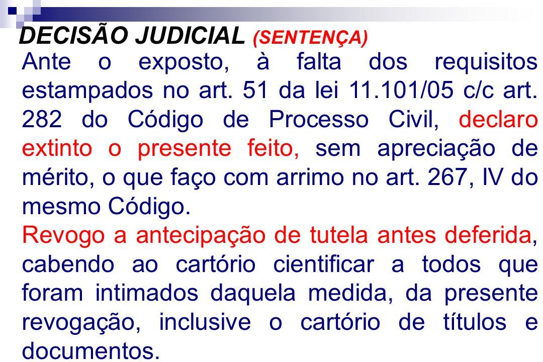 Ante o exposto, à falta dos requisitos estampados no art. 51 da lei 11.101/05 c/c art. 282 do Código de Processo Civil, declaro extinto o presente fei