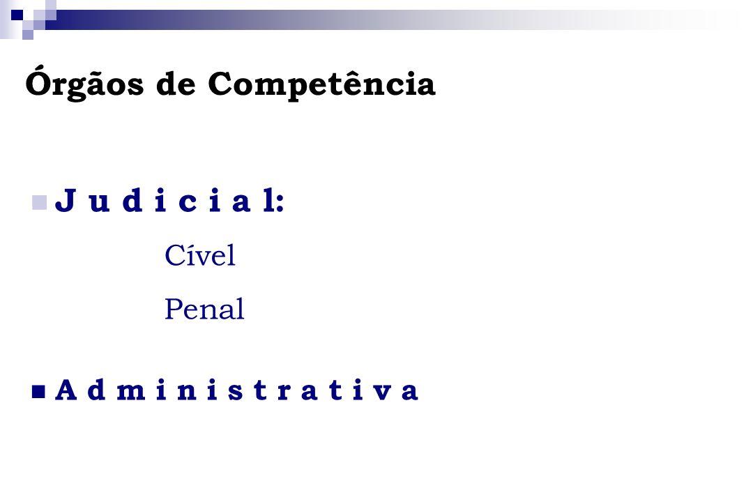 Órgãos de Competência J u d i c i a l: Cível Penal A d m i n i s t r a t i v a