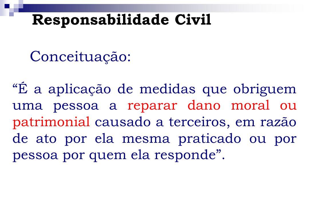 Responsabilidade Civil C onceituação: É a aplicação de medidas que obriguem uma pessoa a reparar dano moral ou patrimonial causado a terceiros, em raz