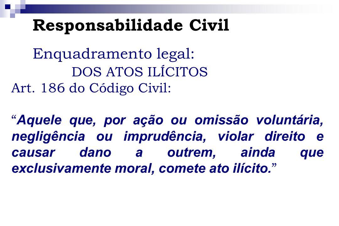 Responsabilidade Civil Enquadramento legal: DOS ATOS ILÍCITOS Art. 186 do Código Civil: Aquele que, por ação ou omissão voluntária, negligência ou imp