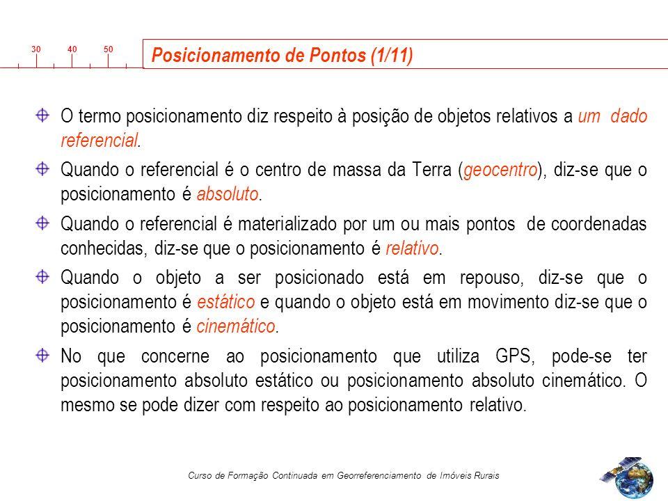 3040 50 Curso de Formação Continuada em Georreferenciamento de Imóveis Rurais Posicionamento de Pontos (1/11) O termo posicionamento diz respeito à posição de objetos relativos a um dado referencial.
