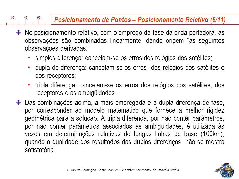 3040 50 Curso de Formação Continuada em Georreferenciamento de Imóveis Rurais Posicionamento de Pontos – Posicionamento Relativo (6/11) No posicionamento relativo, com o emprego da fase da onda portadora, as observações são combinadas linearmente, dando origem as seguintes observações derivadas: simples diferença: cancelam-se os erros dos relógios dos satélites; dupla de diferença: cancelam-se os erros dos relógios dos satélites e dos receptores; tripla diferença: cancelam-se os erros dos relógios dos satélites, dos receptores e as ambigüidades.