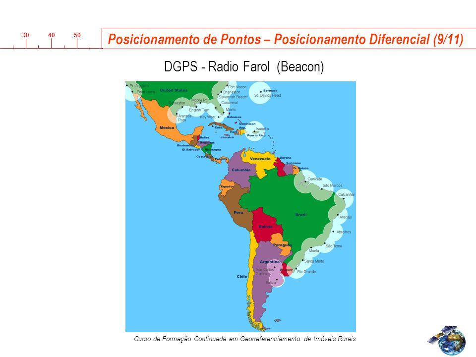 3040 50 Curso de Formação Continuada em Georreferenciamento de Imóveis Rurais Posicionamento de Pontos – Posicionamento Diferencial (9/11) R DGPS - Radio Farol (Beacon)