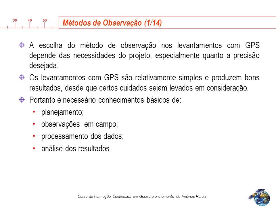 3040 50 Curso de Formação Continuada em Georreferenciamento de Imóveis Rurais Métodos de Observação (1/14) A escolha do método de observação nos levantamentos com GPS depende das necessidades do projeto, especialmente quanto a precisão desejada.