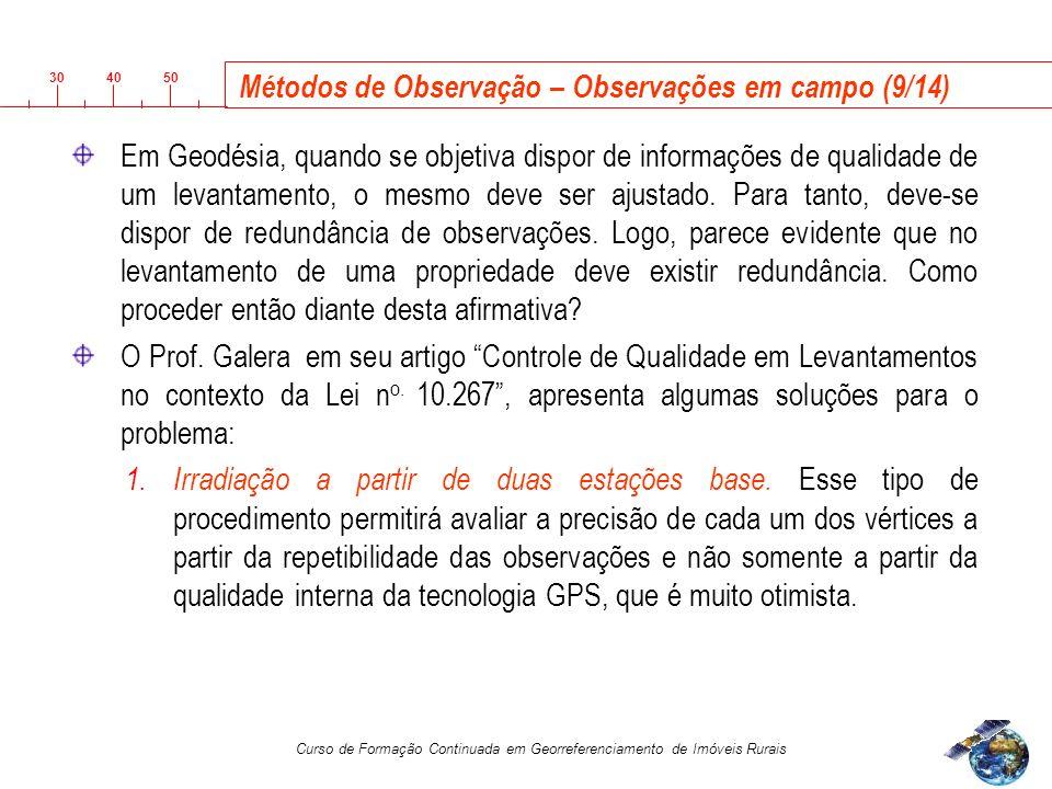 3040 50 Curso de Formação Continuada em Georreferenciamento de Imóveis Rurais Em Geodésia, quando se objetiva dispor de informações de qualidade de um levantamento, o mesmo deve ser ajustado.