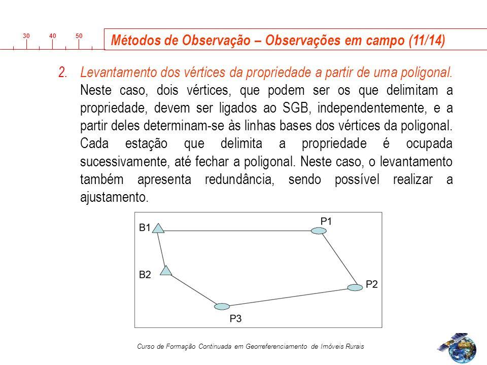 3040 50 Curso de Formação Continuada em Georreferenciamento de Imóveis Rurais 2.Levantamento dos vértices da propriedade a partir de uma poligonal.