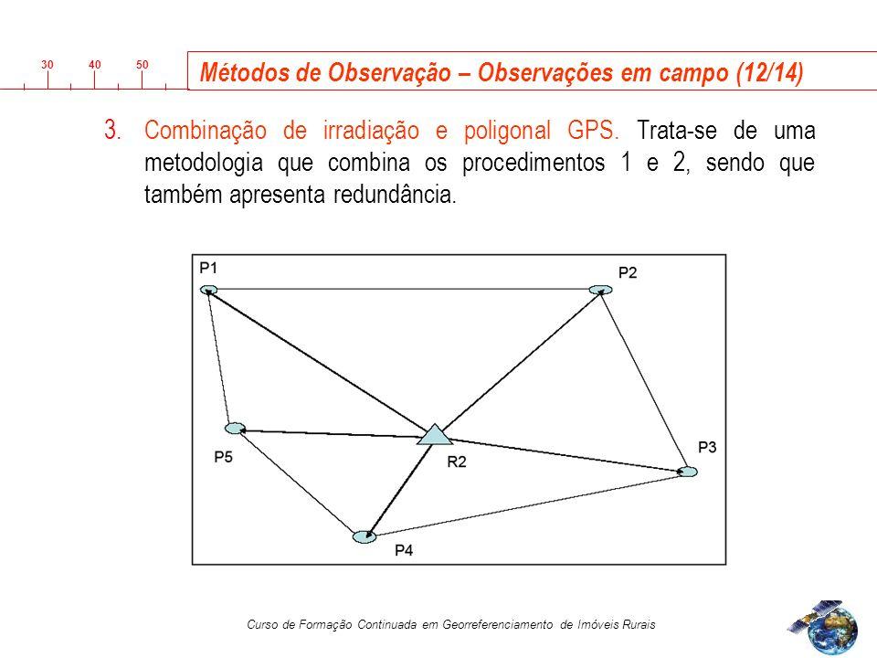 3040 50 Curso de Formação Continuada em Georreferenciamento de Imóveis Rurais Métodos de Observação – Observações em campo (12/14) 3.Combinação de irradiação e poligonal GPS.