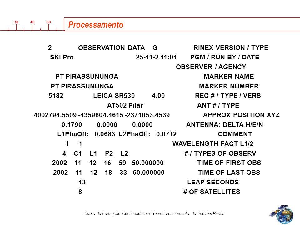 3040 50 Curso de Formação Continuada em Georreferenciamento de Imóveis Rurais 2 OBSERVATION DATA G RINEX VERSION / TYPE SKI Pro 25-11-2 11:01 PGM / RUN BY / DATE OBSERVER / AGENCY PT PIRASSUNUNGA MARKER NAME PT PIRASSUNUNGA MARKER NUMBER 5182 LEICA SR530 4.00 REC # / TYPE / VERS AT502 Pilar ANT # / TYPE 4002794.5509 -4359604.4615 -2371053.4539 APPROX POSITION XYZ 0.1790 0.0000 0.0000 ANTENNA: DELTA H/E/N L1PhaOff: 0.0683 L2PhaOff: 0.0712 COMMENT 1 1 WAVELENGTH FACT L1/2 4 C1 L1 P2 L2 # / TYPES OF OBSERV 2002 11 12 16 59 50.000000 TIME OF FIRST OBS 2002 11 12 18 33 60.000000 TIME OF LAST OBS 13 LEAP SECONDS 8 # OF SATELLITES Processamento