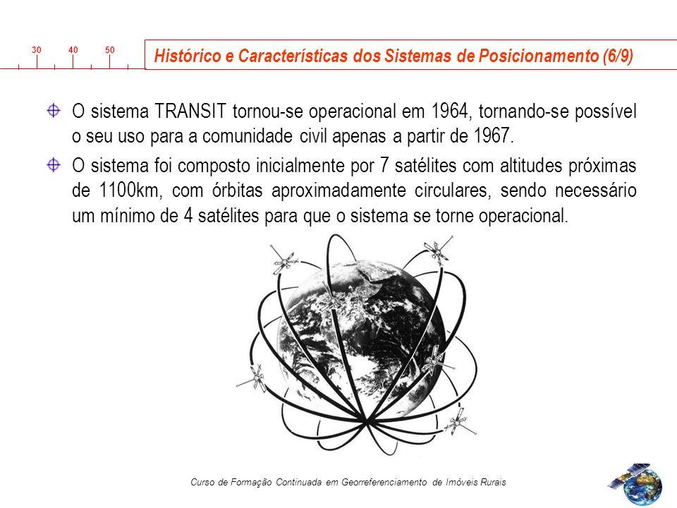 3040 50 Curso de Formação Continuada em Georreferenciamento de Imóveis Rurais O sistema TRANSIT tornou-se operacional em 1964, tornando-se possível o seu uso para a comunidade civil apenas a partir de 1967.