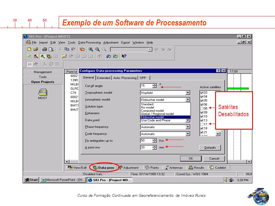 3040 50 Curso de Formação Continuada em Georreferenciamento de Imóveis Rurais Exemplo de um Software de Processamento Satélites Desabilitados