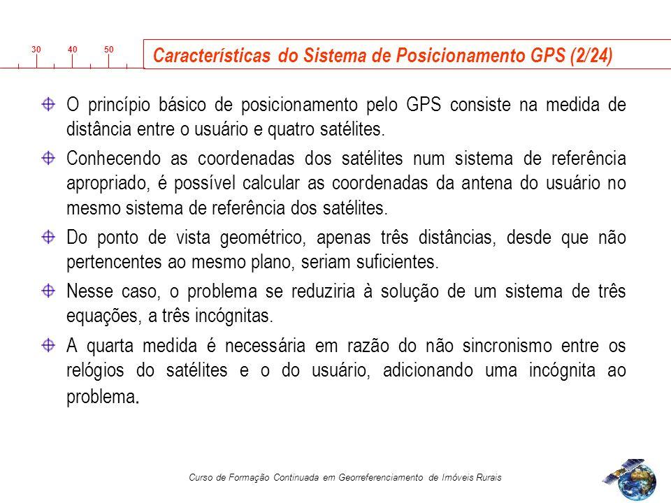 3040 50 Curso de Formação Continuada em Georreferenciamento de Imóveis Rurais Características do Sistema de Posicionamento GPS (2/24) O princípio básico de posicionamento pelo GPS consiste na medida de distância entre o usuário e quatro satélites.