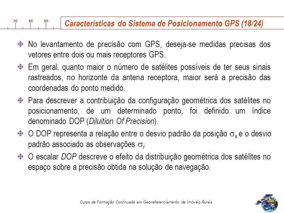 3040 50 Curso de Formação Continuada em Georreferenciamento de Imóveis Rurais Características do Sistema de Posicionamento GPS (18/24) No levantamento de precisão com GPS, deseja-se medidas precisas dos vetores entre dois ou mais receptores GPS.