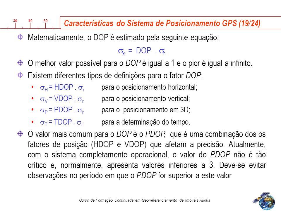 3040 50 Curso de Formação Continuada em Georreferenciamento de Imóveis Rurais Características do Sistema de Posicionamento GPS (19/24) Matematicamente, o DOP é estimado pela seguinte equação: x = DOP.