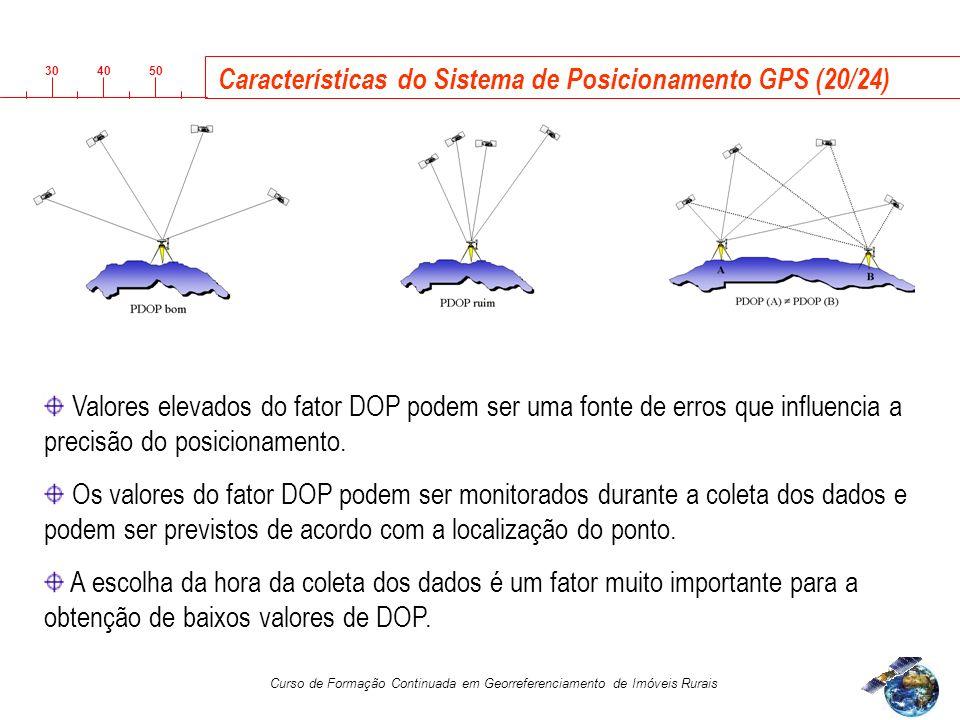 3040 50 Curso de Formação Continuada em Georreferenciamento de Imóveis Rurais Características do Sistema de Posicionamento GPS (20/24) Valores elevados do fator DOP podem ser uma fonte de erros que influencia a precisão do posicionamento.