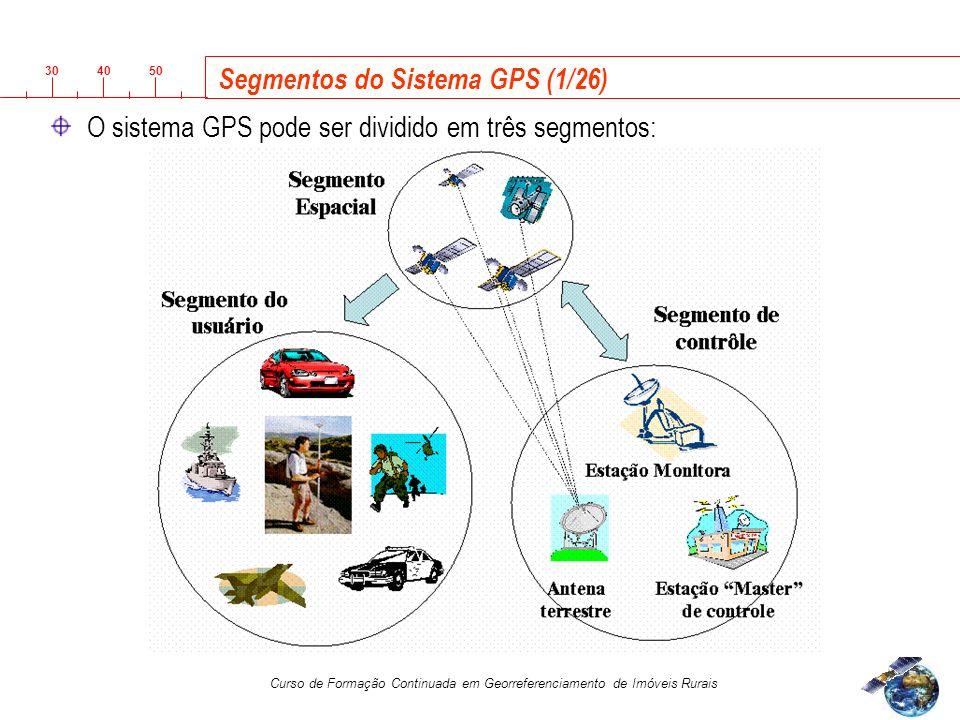 3040 50 Curso de Formação Continuada em Georreferenciamento de Imóveis Rurais Segmentos do Sistema GPS (1/26) O sistema GPS pode ser dividido em três segmentos: