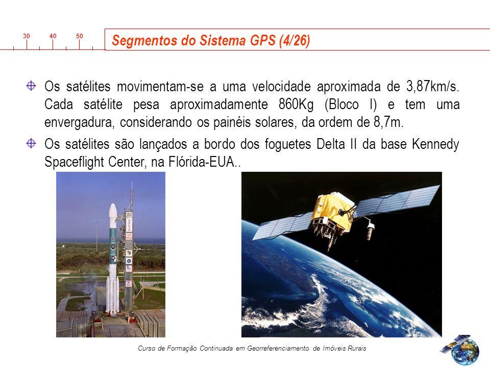 3040 50 Curso de Formação Continuada em Georreferenciamento de Imóveis Rurais Segmentos do Sistema GPS (4/26) Os satélites movimentam-se a uma velocidade aproximada de 3,87km/s.