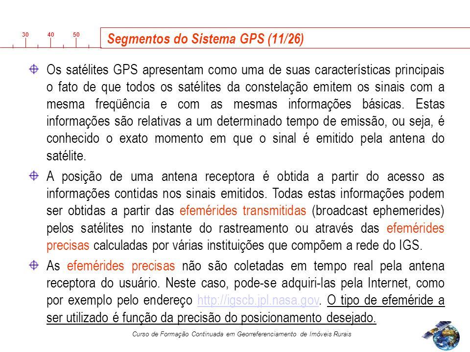 3040 50 Curso de Formação Continuada em Georreferenciamento de Imóveis Rurais Segmentos do Sistema GPS (11/26) Os satélites GPS apresentam como uma de suas características principais o fato de que todos os satélites da constelação emitem os sinais com a mesma freqüência e com as mesmas informações básicas.