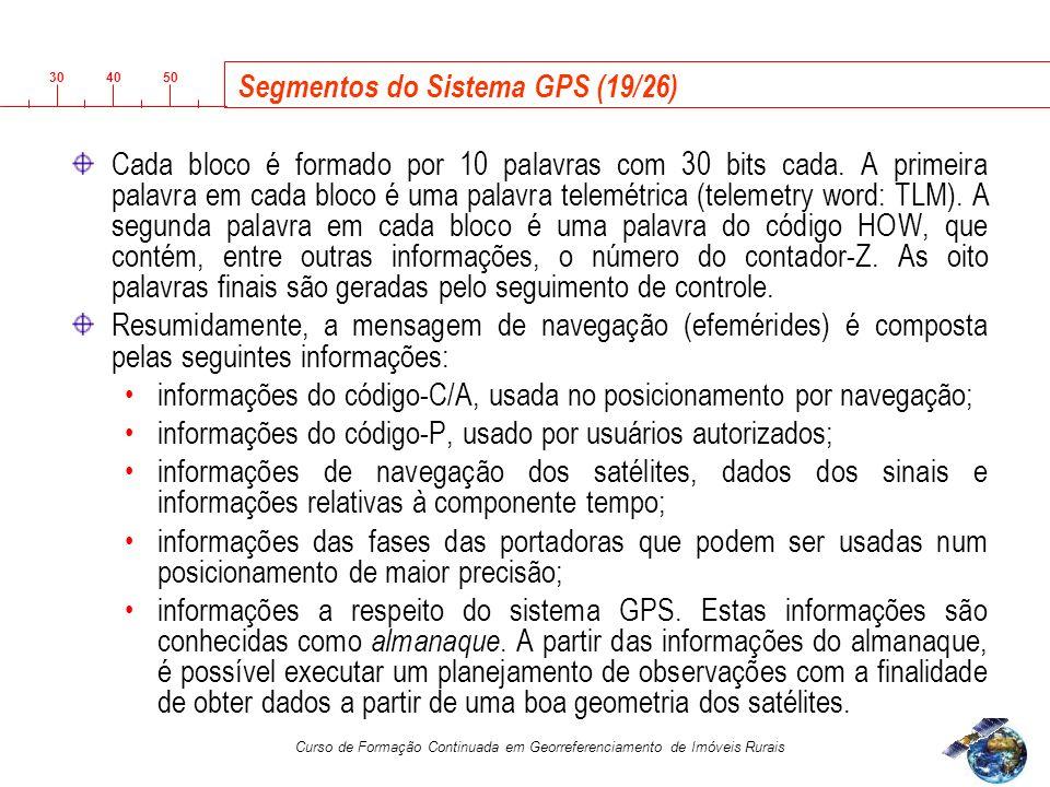 3040 50 Curso de Formação Continuada em Georreferenciamento de Imóveis Rurais Segmentos do Sistema GPS (19/26) Cada bloco é formado por 10 palavras com 30 bits cada.