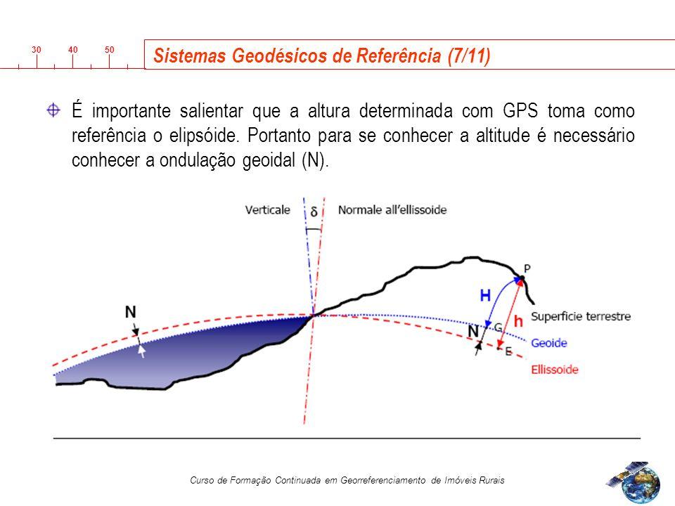 3040 50 Curso de Formação Continuada em Georreferenciamento de Imóveis Rurais Sistemas Geodésicos de Referência (7/11) É importante salientar que a altura determinada com GPS toma como referência o elipsóide.