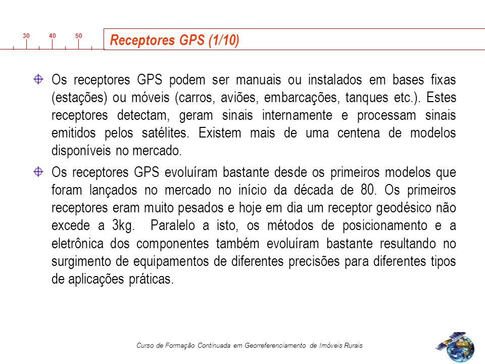 3040 50 Curso de Formação Continuada em Georreferenciamento de Imóveis Rurais Receptores GPS (1/10) Os receptores GPS podem ser manuais ou instalados em bases fixas (estações) ou móveis (carros, aviões, embarcações, tanques etc.).