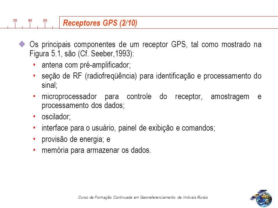 3040 50 Curso de Formação Continuada em Georreferenciamento de Imóveis Rurais Receptores GPS (2/10) Os principais componentes de um receptor GPS, tal como mostrado na Figura 5.1, são (Cf.