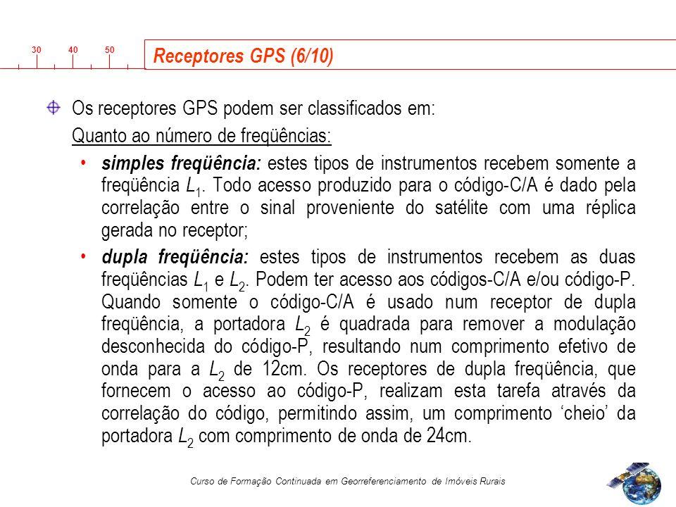 3040 50 Curso de Formação Continuada em Georreferenciamento de Imóveis Rurais Receptores GPS (6/10) Os receptores GPS podem ser classificados em: Quanto ao número de freqüências: simples freqüência: estes tipos de instrumentos recebem somente a freqüência L 1.