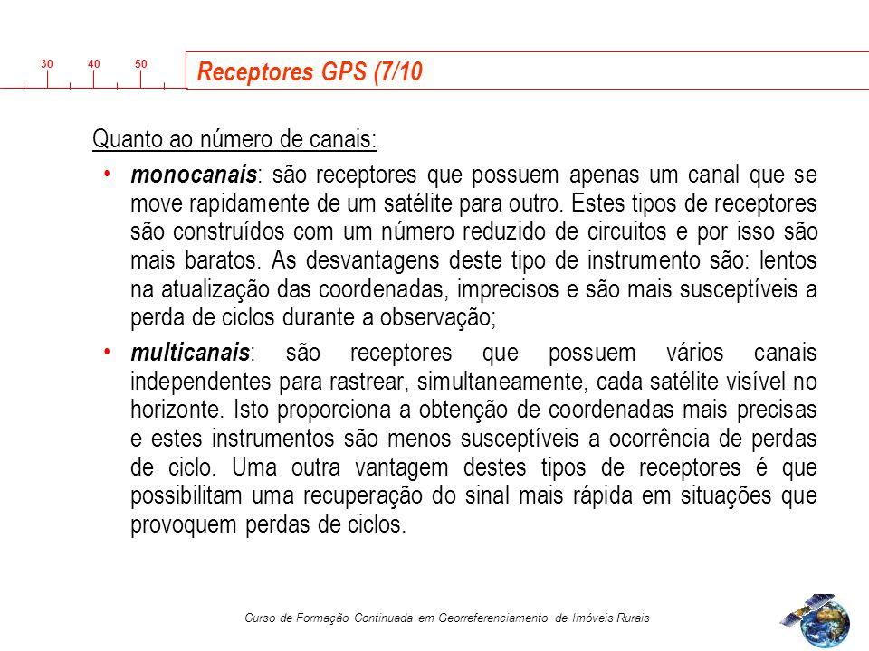 3040 50 Curso de Formação Continuada em Georreferenciamento de Imóveis Rurais Receptores GPS (7/10 Quanto ao número de canais: monocanais : são receptores que possuem apenas um canal que se move rapidamente de um satélite para outro.