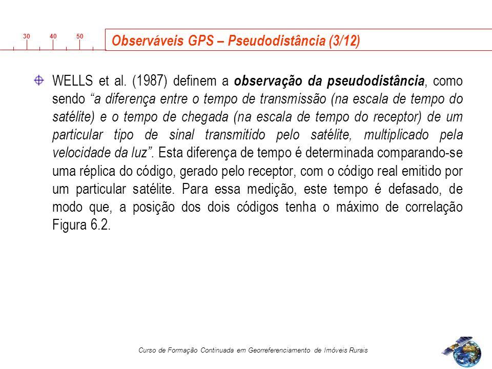 3040 50 Curso de Formação Continuada em Georreferenciamento de Imóveis Rurais Observáveis GPS – Pseudodistância (3/12) WELLS et al.