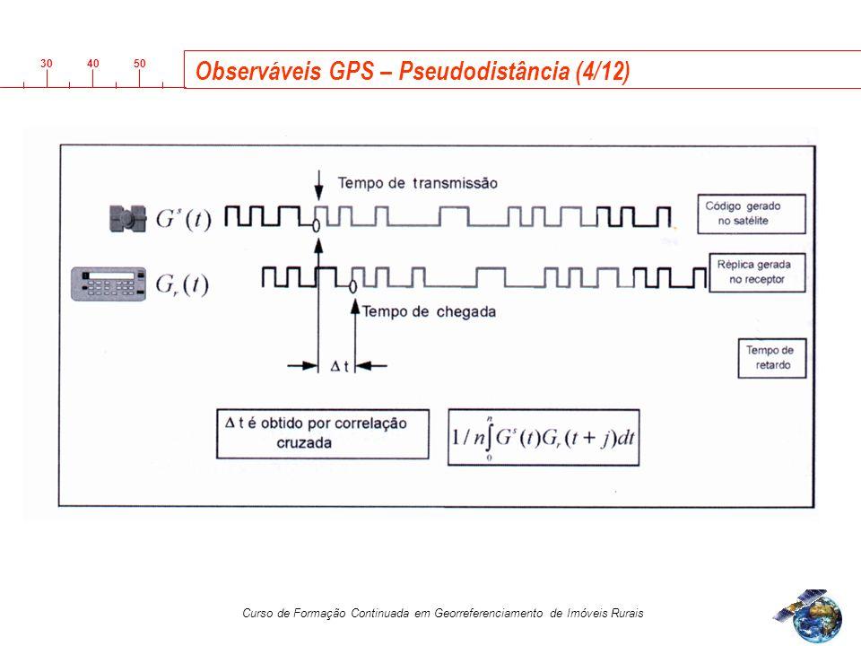 3040 50 Curso de Formação Continuada em Georreferenciamento de Imóveis Rurais Observáveis GPS – Pseudodistância (4/12)