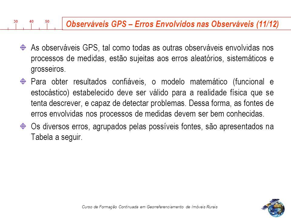 3040 50 Curso de Formação Continuada em Georreferenciamento de Imóveis Rurais Observáveis GPS – Erros Envolvidos nas Observáveis (11/12) As observáveis GPS, tal como todas as outras observáveis envolvidas nos processos de medidas, estão sujeitas aos erros aleatórios, sistemáticos e grosseiros.