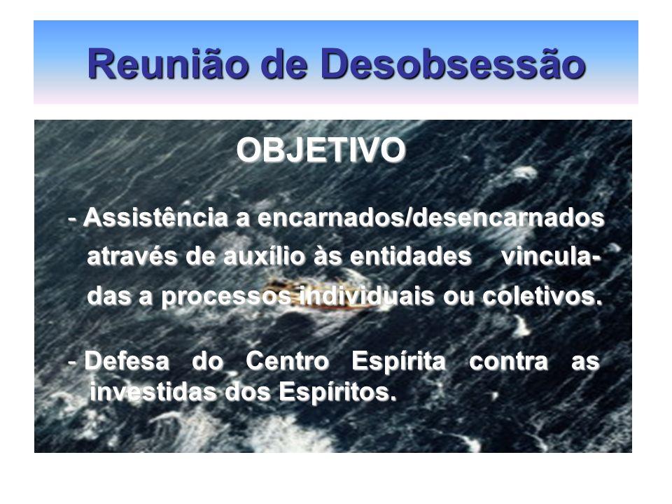 Reunião de Desobsessão OBJETIVO OBJETIVO - Assistência a encarnados/desencarnados através de auxílio às entidades vincula- através de auxílio às entid