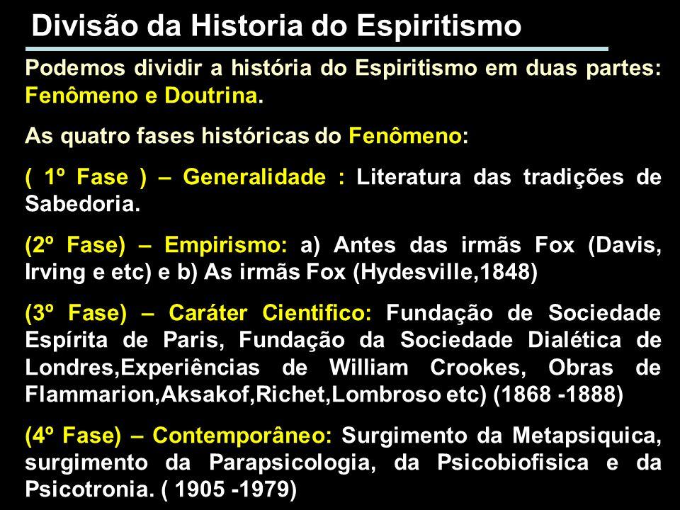 Divisão da Historia do Espiritismo Podemos dividir a história do Espiritismo em duas partes: Fenômeno e Doutrina. As quatro fases históricas do Fenôme
