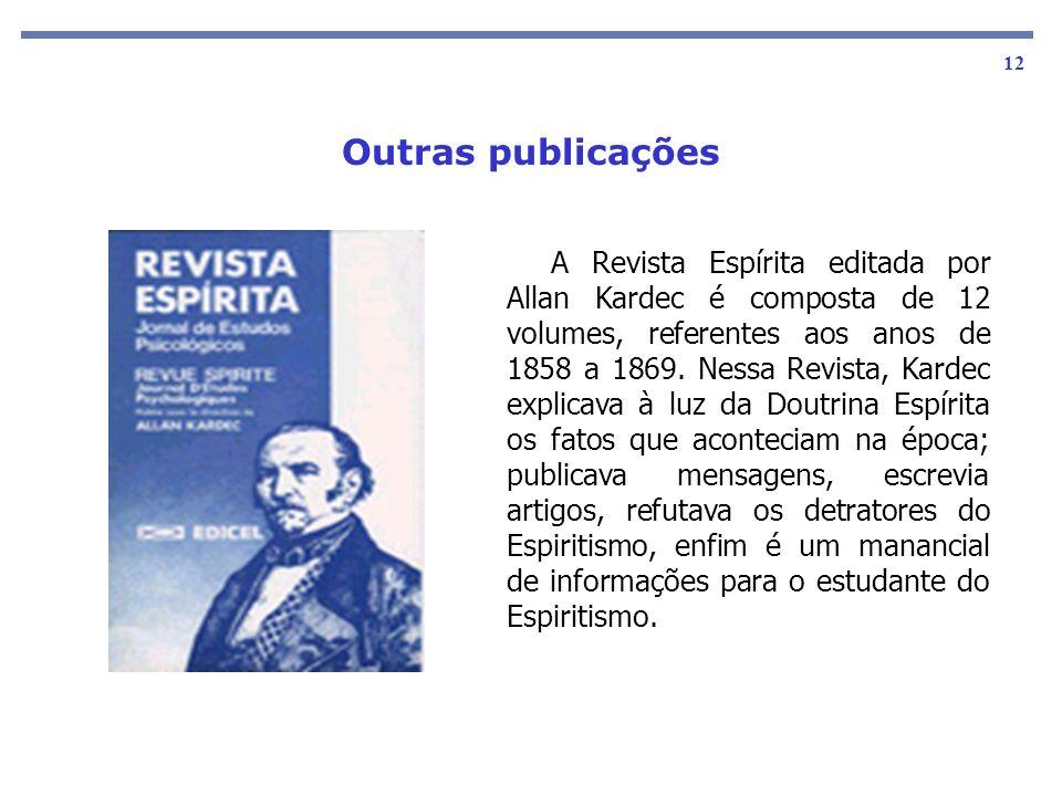 As obras básicas 12 A Revista Espírita editada por Allan Kardec é composta de 12 volumes, referentes aos anos de 1858 a 1869. Nessa Revista, Kardec ex