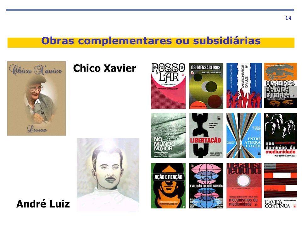 As obras básicas 14 Obras complementares ou subsidiárias Chico Xavier André Luiz
