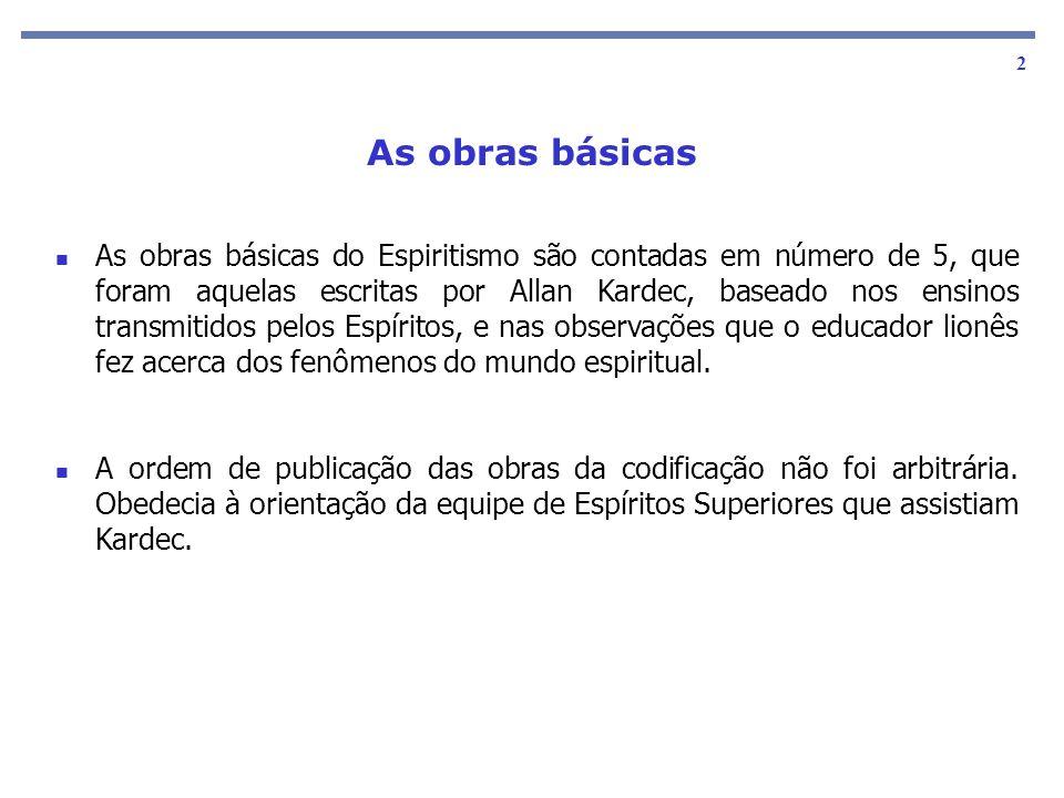 As obras básicas 2 As obras básicas do Espiritismo são contadas em número de 5, que foram aquelas escritas por Allan Kardec, baseado nos ensinos trans
