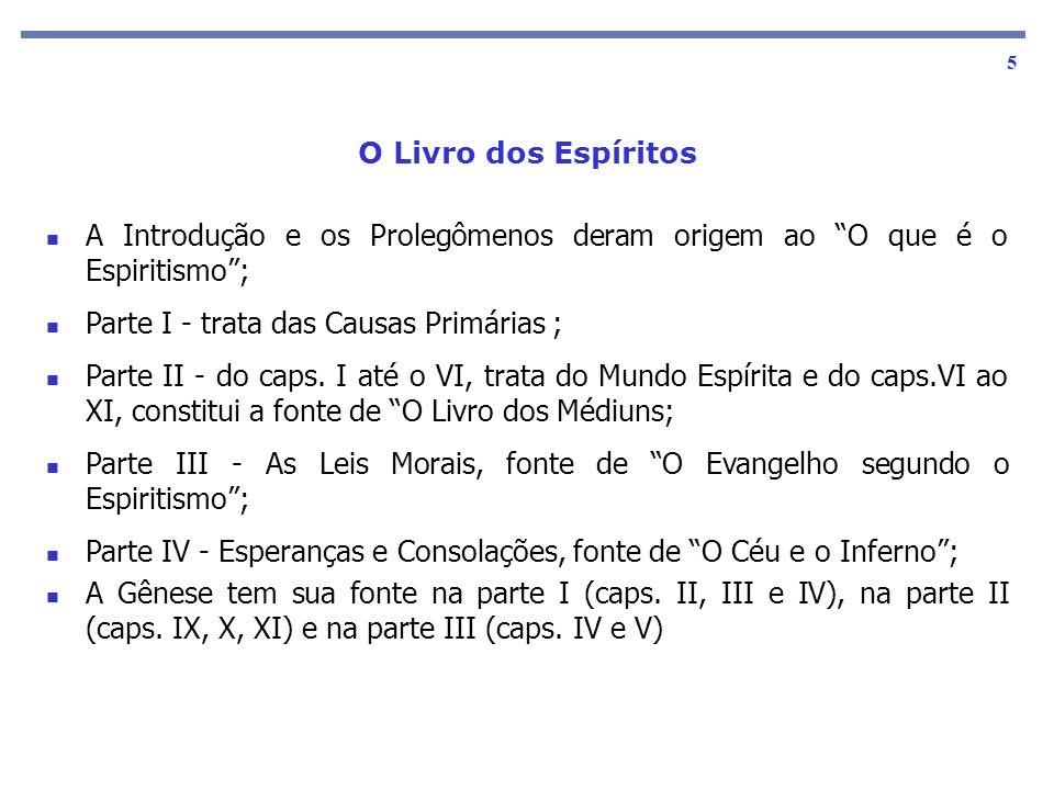 As obras básicas 5 A Introdução e os Prolegômenos deram origem ao O que é o Espiritismo; Parte I - trata das Causas Primárias ; Parte II - do caps. I