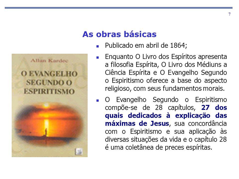 As obras básicas 7 Publicado em abril de 1864; Enquanto O Livro dos Espíritos apresenta a filosofia Espírita, O Livro dos Médiuns a Ciência Espírita e