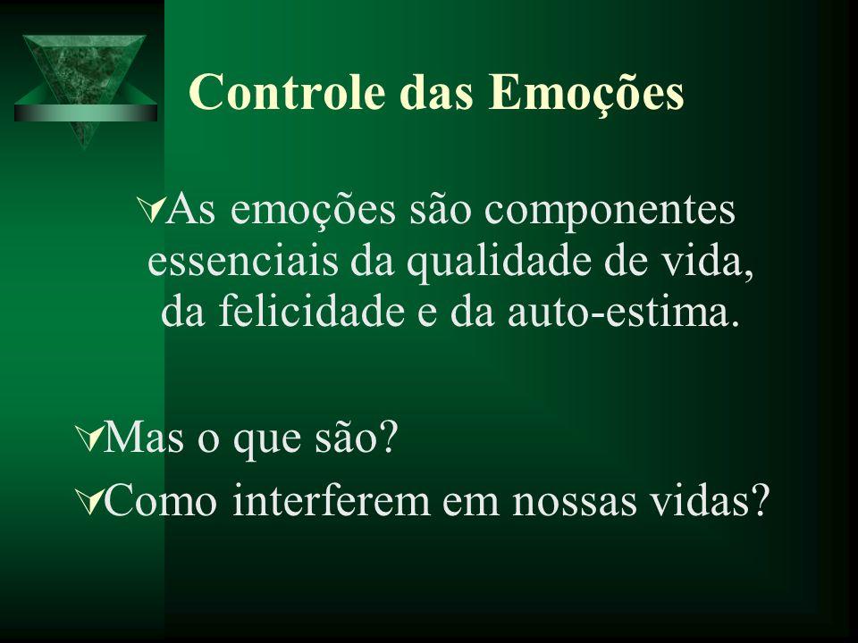 Controle das Emoções As emoções são componentes essenciais da qualidade de vida, da felicidade e da auto-estima. Mas o que são? Como interferem em nos