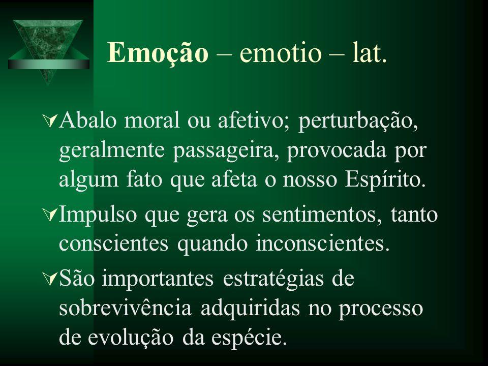 Emoção – emotio – lat. Abalo moral ou afetivo; perturbação, geralmente passageira, provocada por algum fato que afeta o nosso Espírito. Impulso que ge