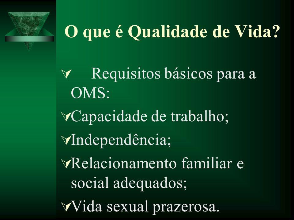 O que é Qualidade de Vida? Requisitos básicos para a OMS: Capacidade de trabalho; Independência; Relacionamento familiar e social adequados; Vida sexu