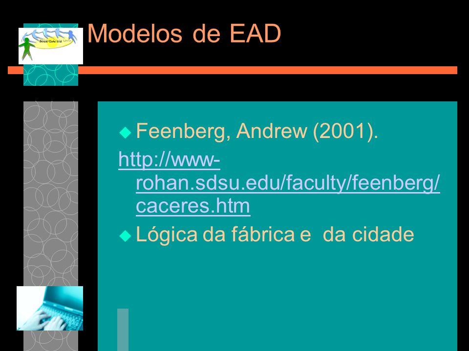 Modelos de EAD Feenberg, Andrew (2001). http://www- rohan.sdsu.edu/faculty/feenberg/ caceres.htm Lógica da fábrica e da cidade