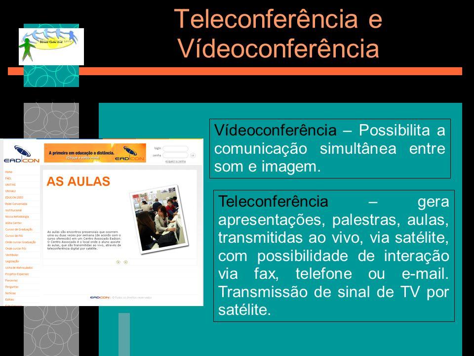 Teleconferência e Vídeoconferência Vídeoconferência – Possibilita a comunicação simultânea entre som e imagem. Teleconferência – gera apresentações, p