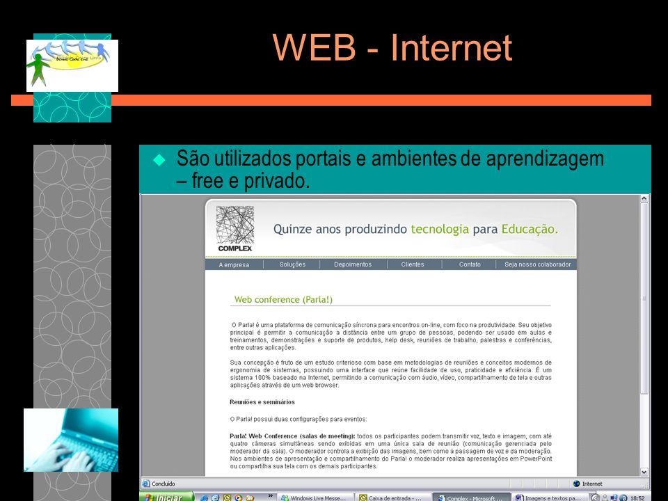 WEB - Internet São utilizados portais e ambientes de aprendizagem – free e privado. TELEDUCMOODLE WEBAULAPARLA