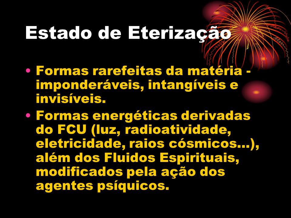 Estado de Eterização Formas rarefeitas da matéria - imponderáveis, intangíveis e invisíveis. Formas energéticas derivadas do FCU (luz, radioatividade,