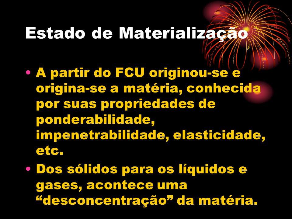 Estado de Materialização A partir do FCU originou-se e origina-se a matéria, conhecida por suas propriedades de ponderabilidade, impenetrabilidade, elasticidade, etc.
