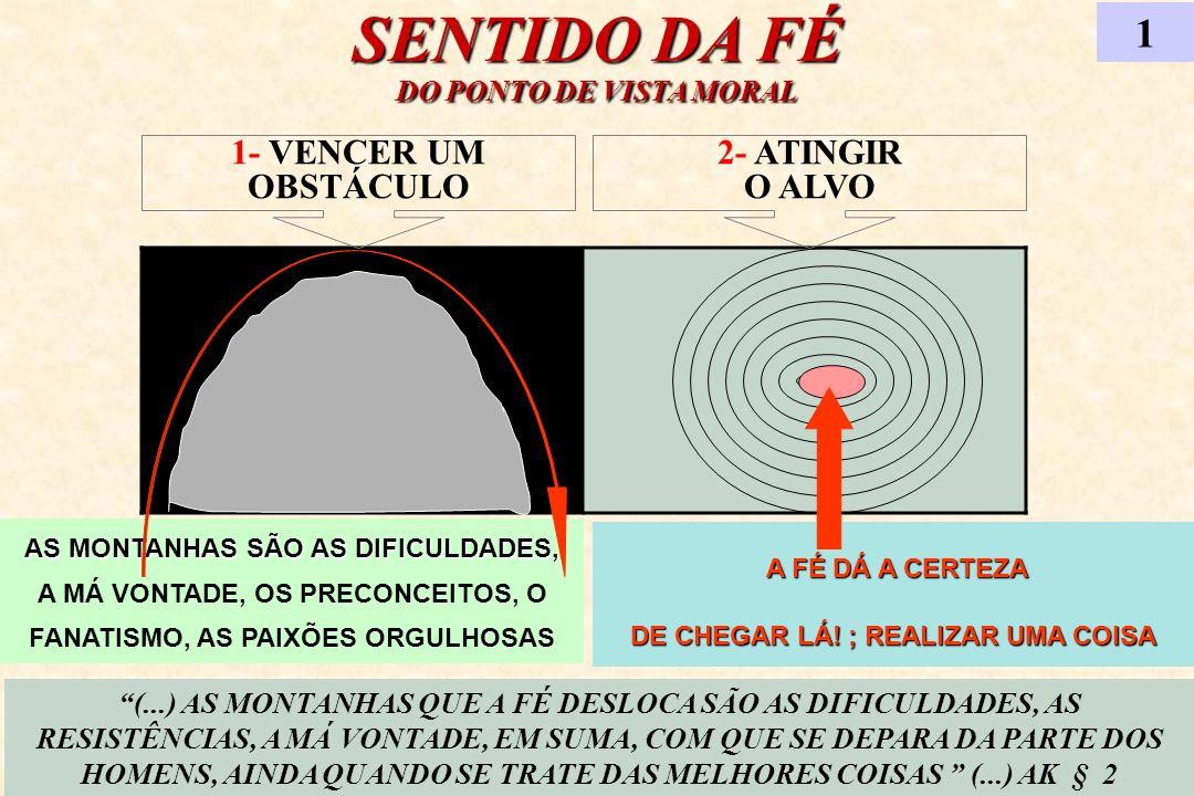 SENTIDO DA FÉ DO PONTO DE VISTA MORAL 1 (...) AS MONTANHAS QUE A FÉ DESLOCA SÃO AS DIFICULDADES, AS RESISTÊNCIAS, A MÁ VONTADE, EM SUMA, COM QUE SE DE