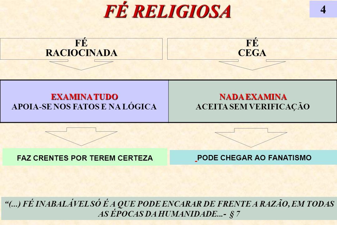 FÉ RELIGIOSA 4 (...) FÉ INABALÁVEL SÓ É A QUE PODE ENCARAR DE FRENTE A RAZÃO, EM TODAS AS ÉPOCAS DA HUMANIDADE...- § 7 EXAMINA TUDO EXAMINA TUDO APOIA
