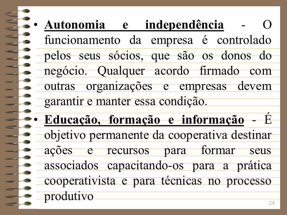 24 Autonomia e independência - O funcionamento da empresa é controlado pelos seus sócios, que são os donos do negócio. Qualquer acordo firmado com out