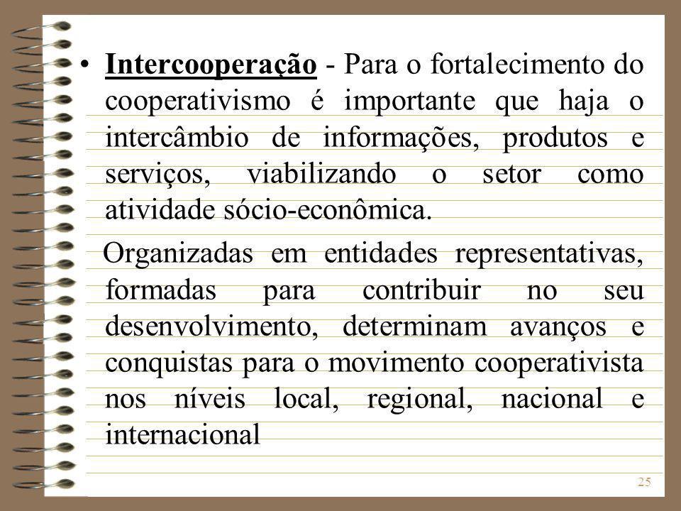 25 Intercooperação - Para o fortalecimento do cooperativismo é importante que haja o intercâmbio de informações, produtos e serviços, viabilizando o s